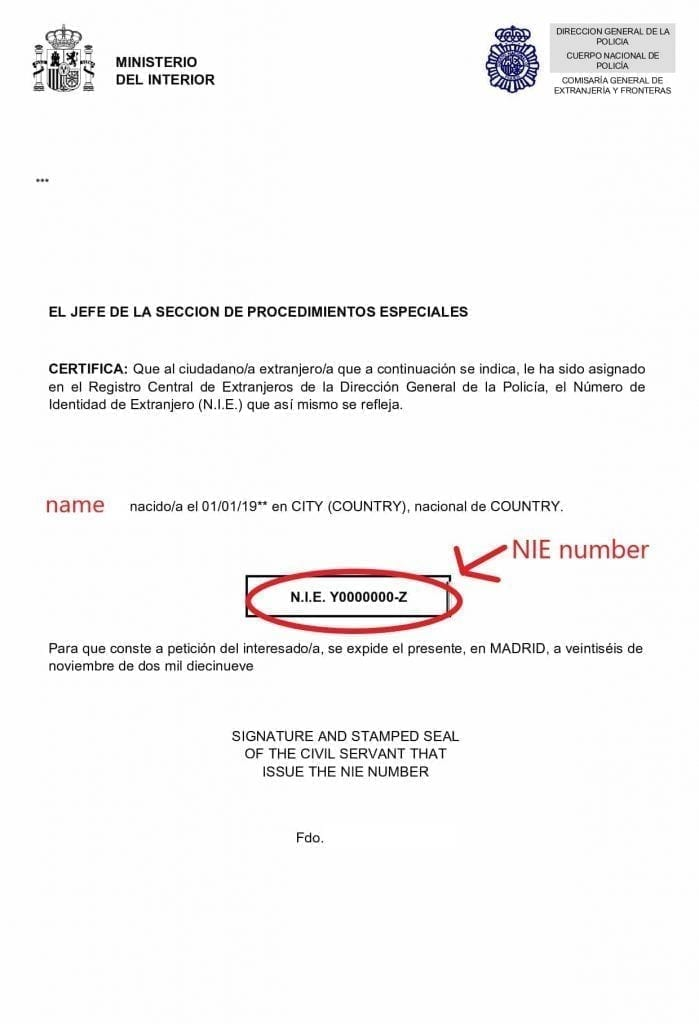 How long does a Spanish NIE number last? This is a Spanish NIE number certificste without date of expired.